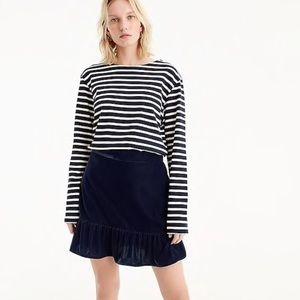 J.Crew Navy Velvet Peplum Skirt